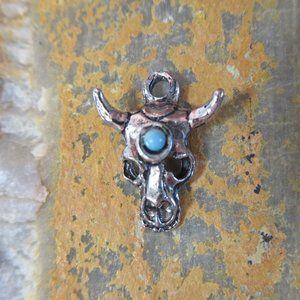 Silver Desert Skull Charm Vintage 1970s Southwest